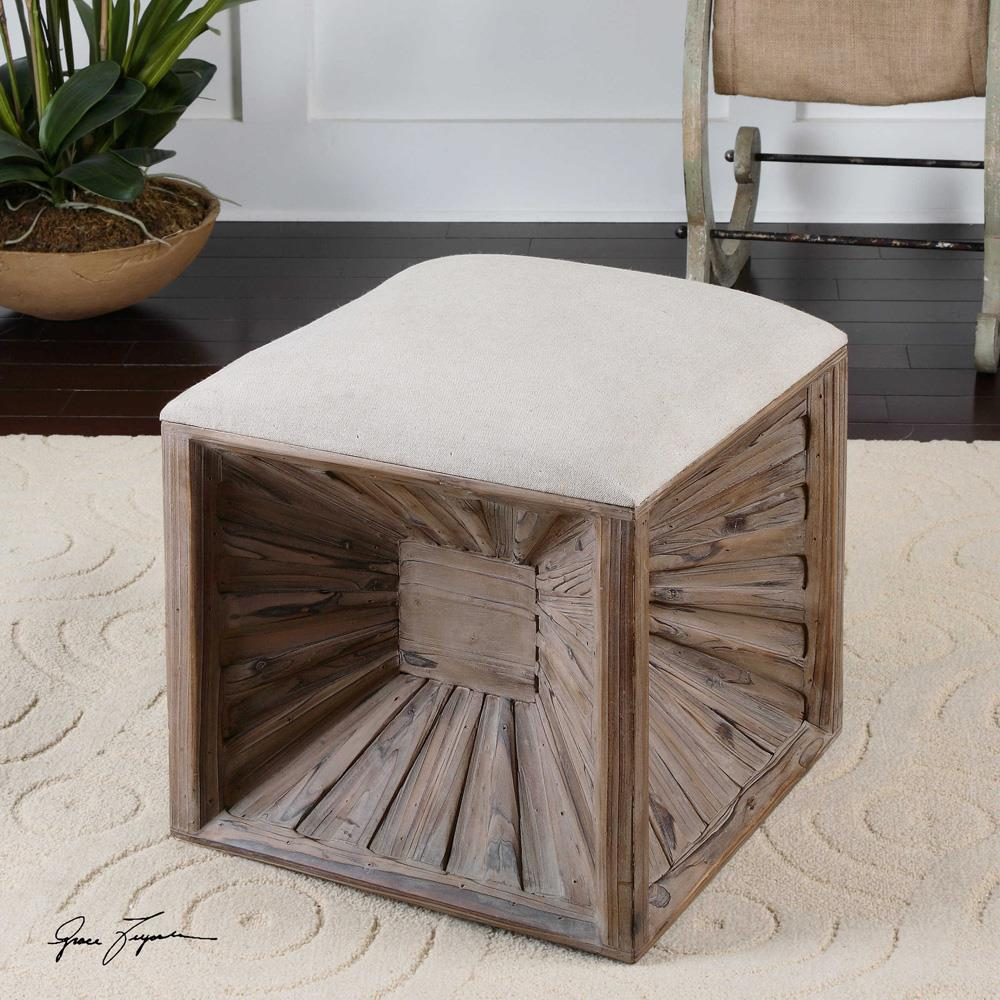 Erik coastal beach wood burst cube cushion beige ottoman
