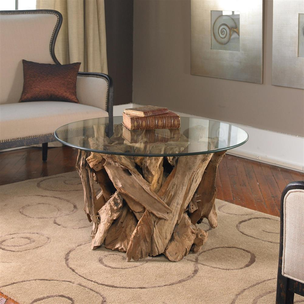plymouth coastal beach teak driftwood round glass coffee table. Black Bedroom Furniture Sets. Home Design Ideas