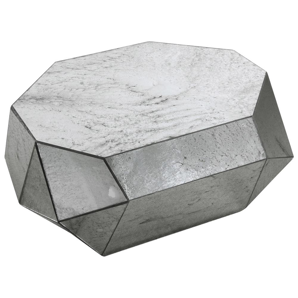 Corbin modern classic geometric mirror silver coffee table for Geometric coffee table