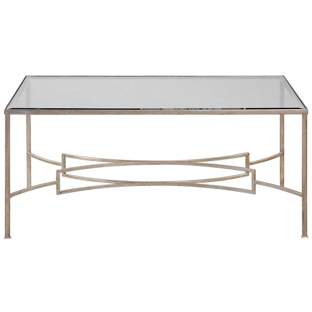 Coffee Tables Endora Hollywood Regency Silver Leaf Glass Coffee Table