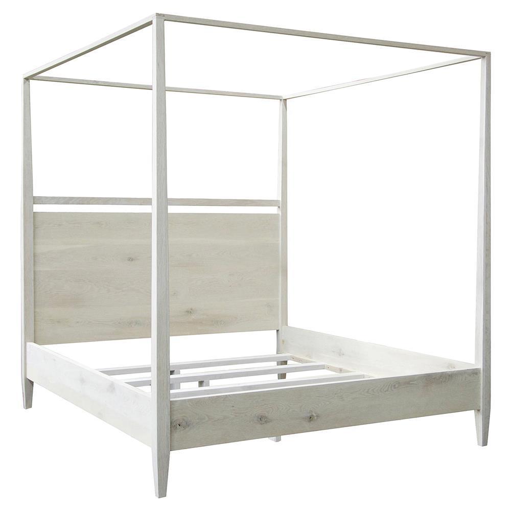 Aileen Coastal Beach White Wash 4 Poster Oak Bed Queen