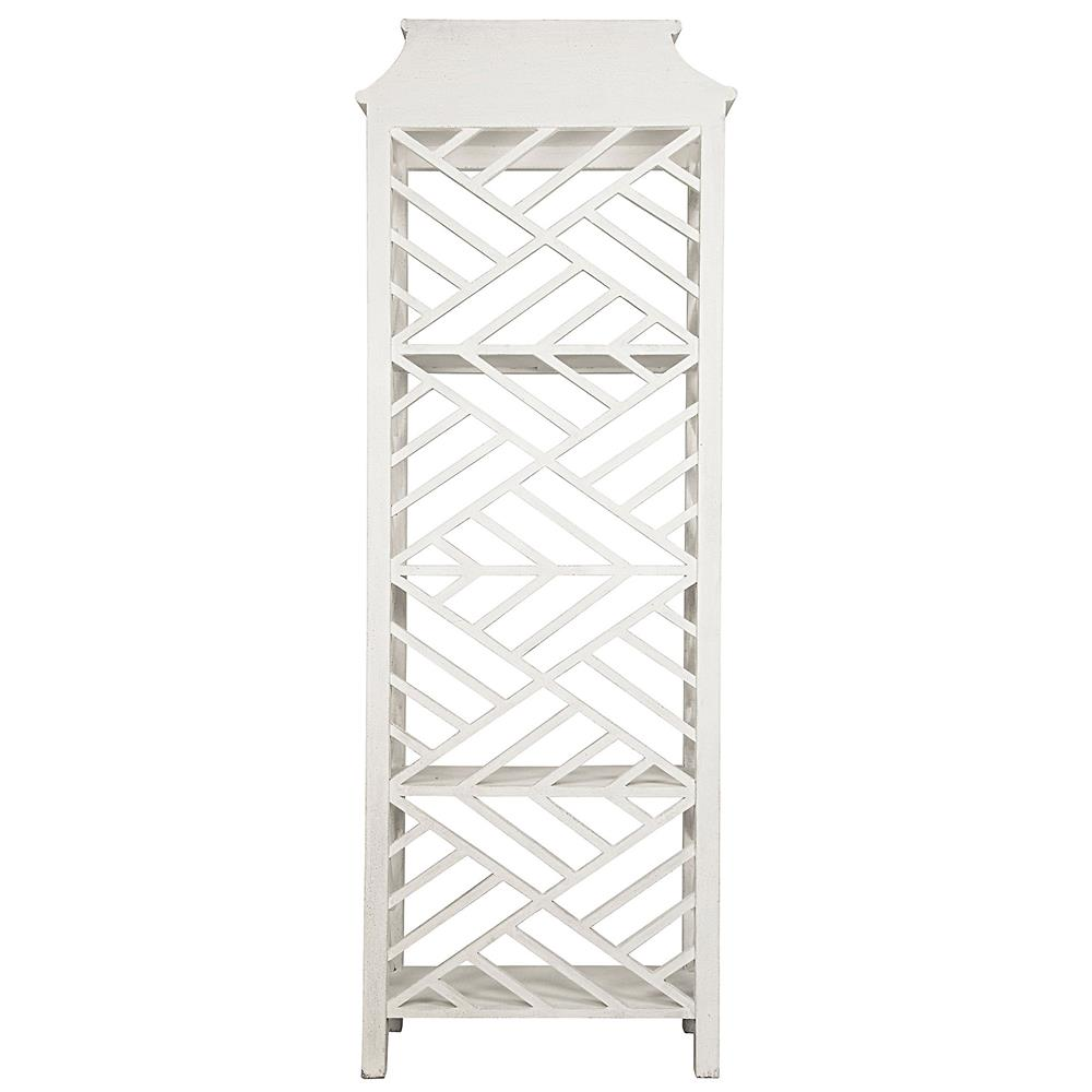 Akira Global Bazaar Distressed White Four Shelf Bookcase