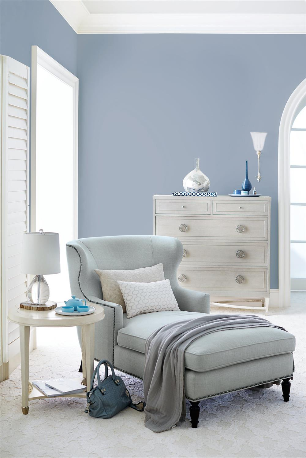Nia Hollywood Regency Nickel Soft Sheen Blue Grey Velvet Chaise | Kathy Kuo  Home