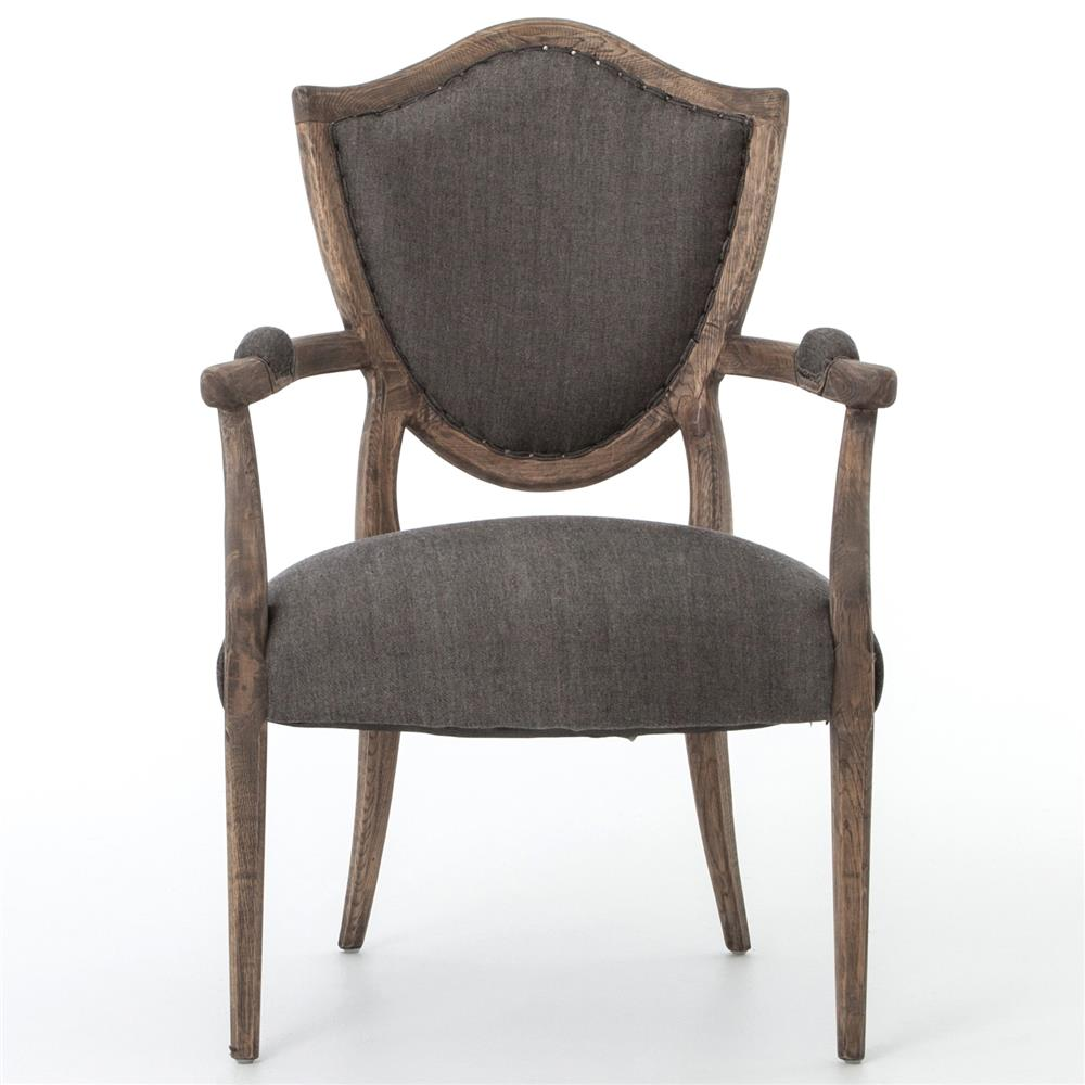 Shayla French Country Forest Oak Grey Linen Arm Chair