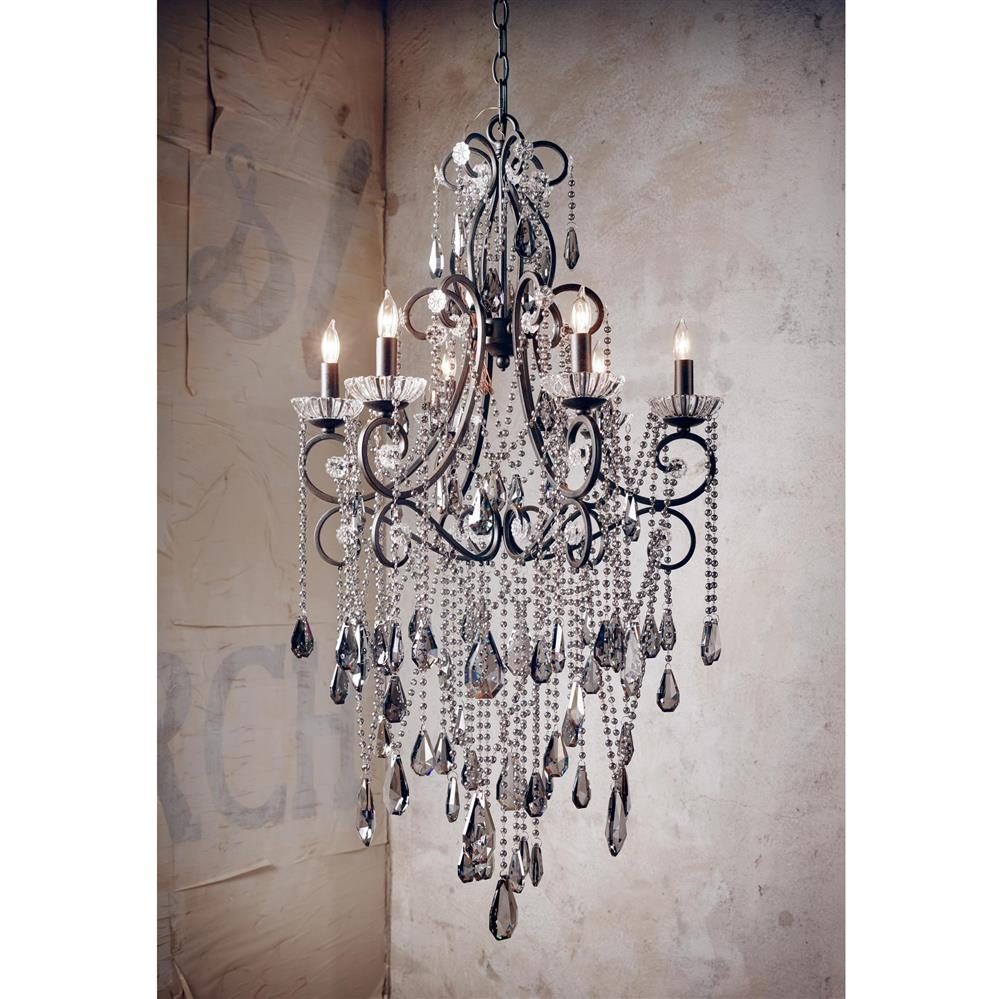 Kristiana french country crystal smoke 6 light chandelier French country chandelier