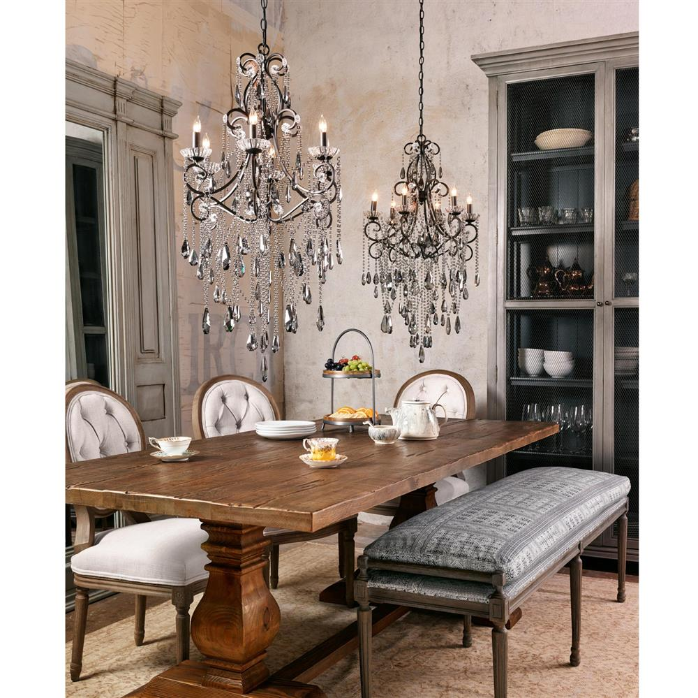 Kristiana French Country Crystal Smoke 6 Light Chandelier