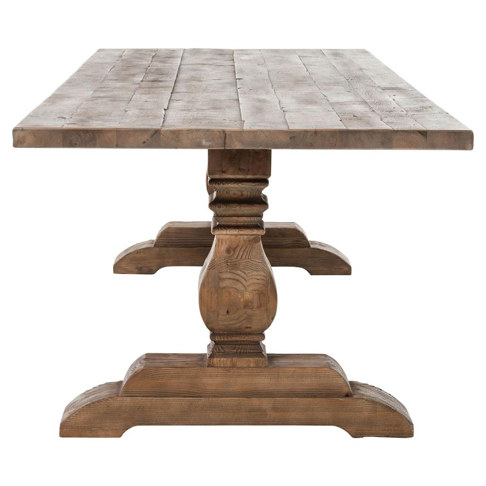 Arbois French Country Bleached Oak Trestle Dining Table 110w