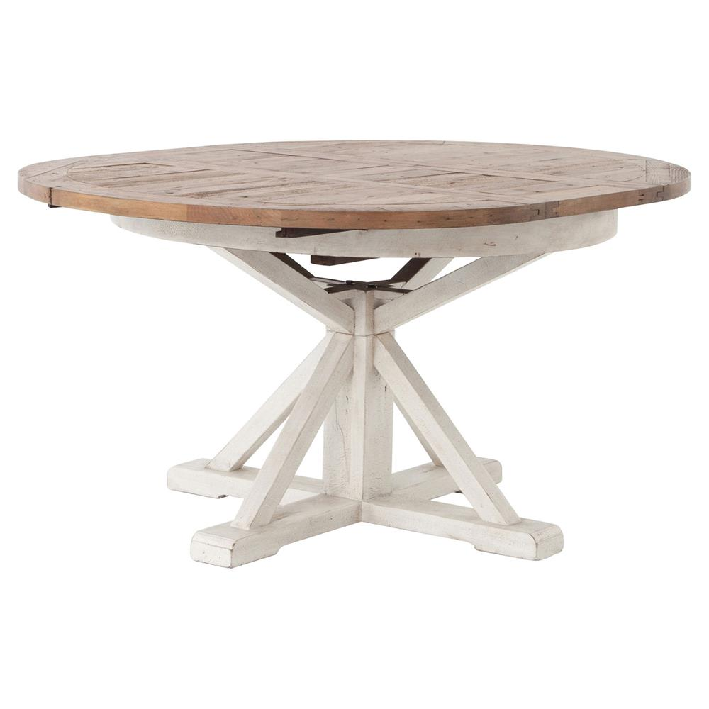 Barnes Modern Classic Round Wood Whitewash Extension Dining Table ...