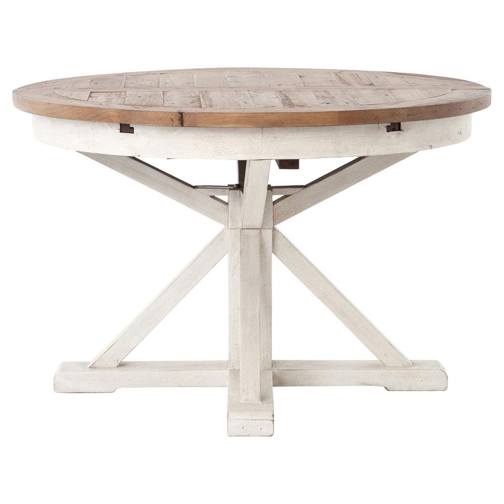 Beautiful Barnes Modern Classic Round Wood Whitewash Extension Dining Table   48   63  Inch | Kathy Kuo Home