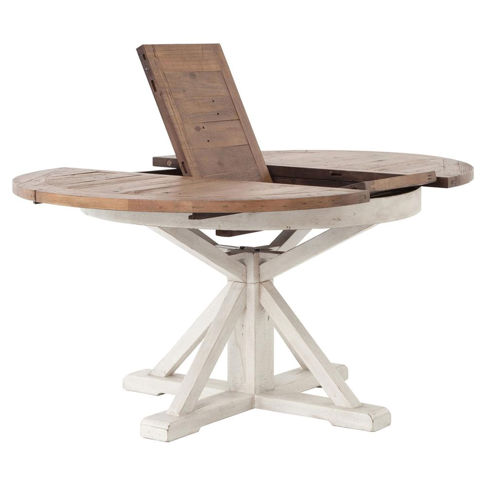 ... Barnes Modern Classic Round Wood Whitewash Extension Dining Table   48    63 Inch | Kathy ...