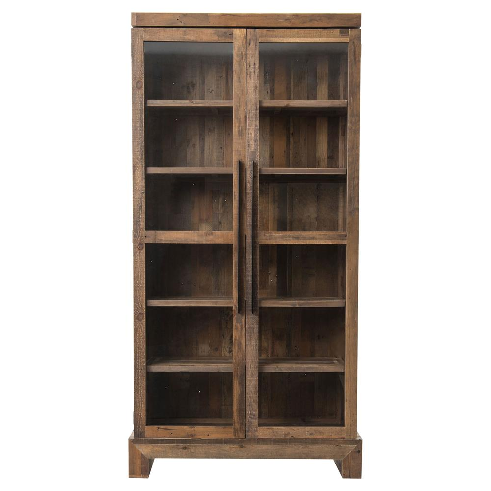 Chesney Rustic Lodge Glass Reclaimed Wood Double Door Bookcase | Kathy ...
