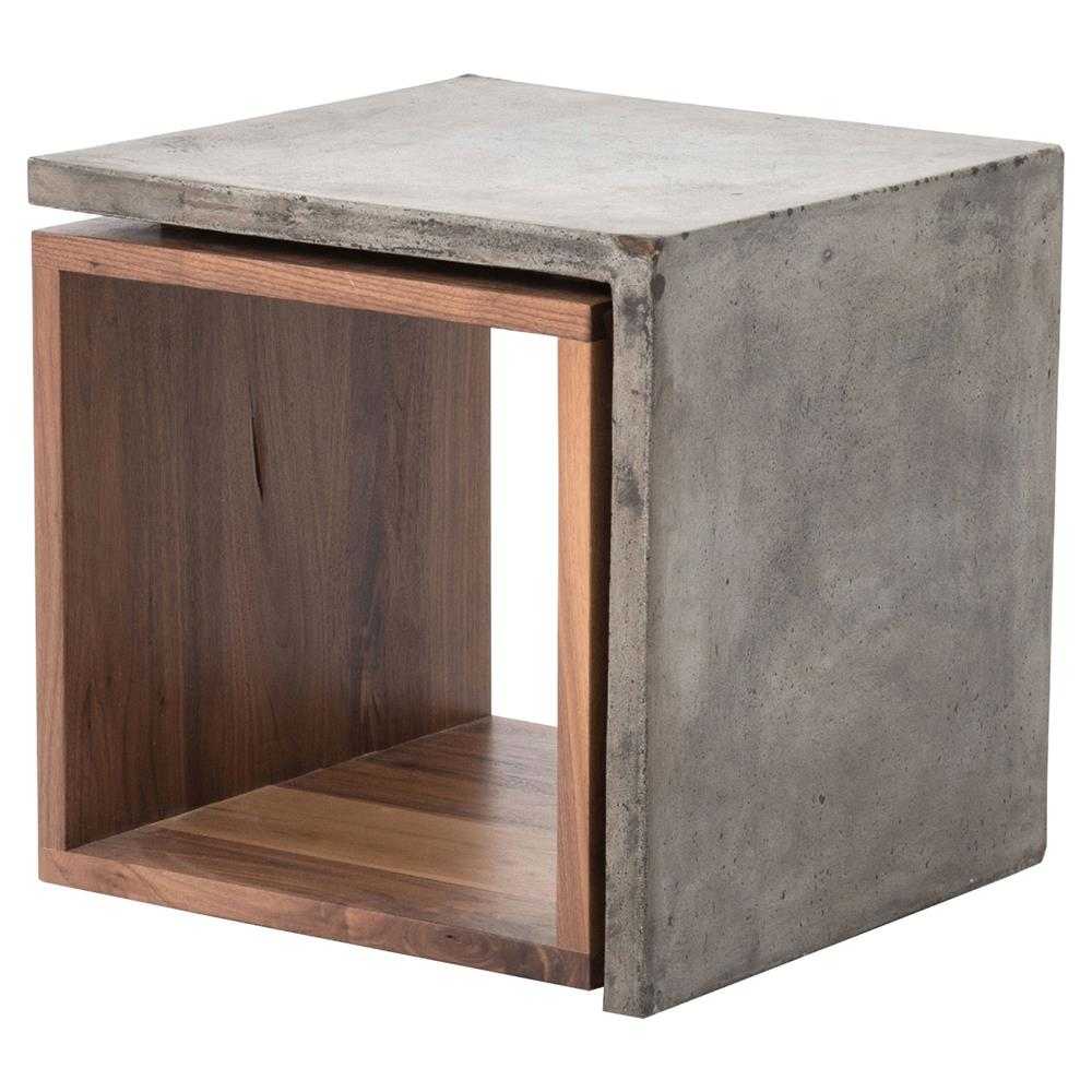 concrete industrial style wood cube side table kathy kuo. Black Bedroom Furniture Sets. Home Design Ideas