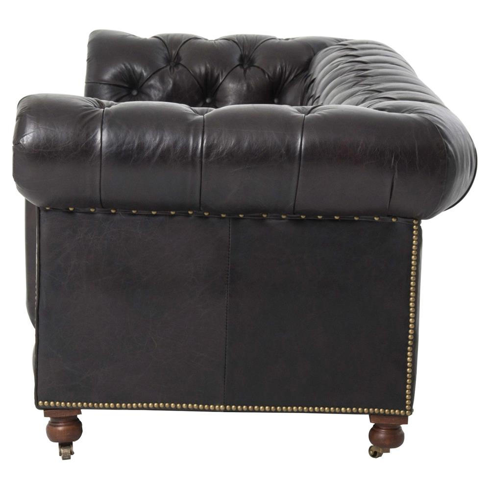 Curved Sofa Sectional Leather: Cyril Modern Classic Tufted Black Leather Curved Arm Sofa