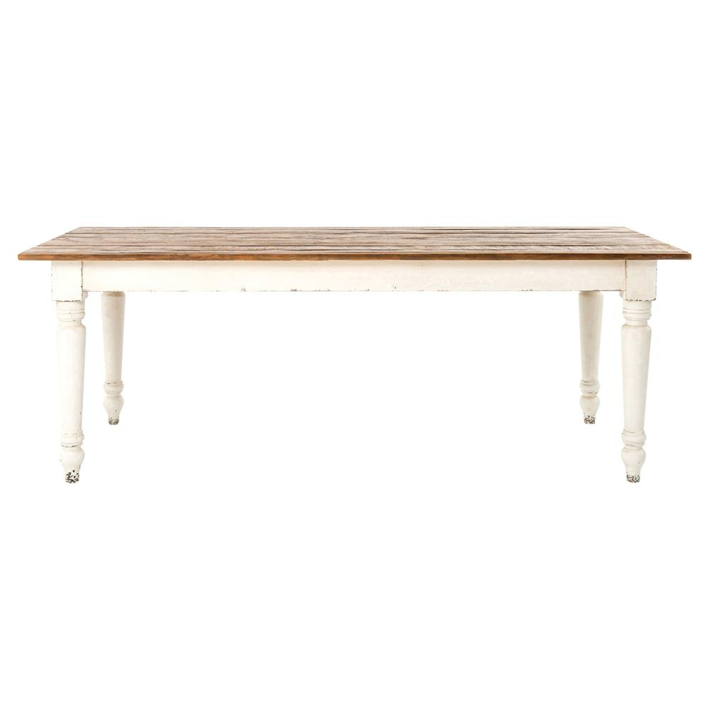 French Country Reclaimed Pine Whitewash Farmhouse Dining Table