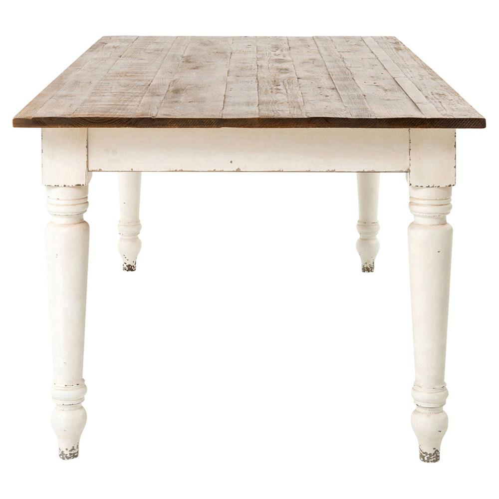 Farmhouse Dining Table: French Country Reclaimed Pine Whitewash Farmhouse Dining Table