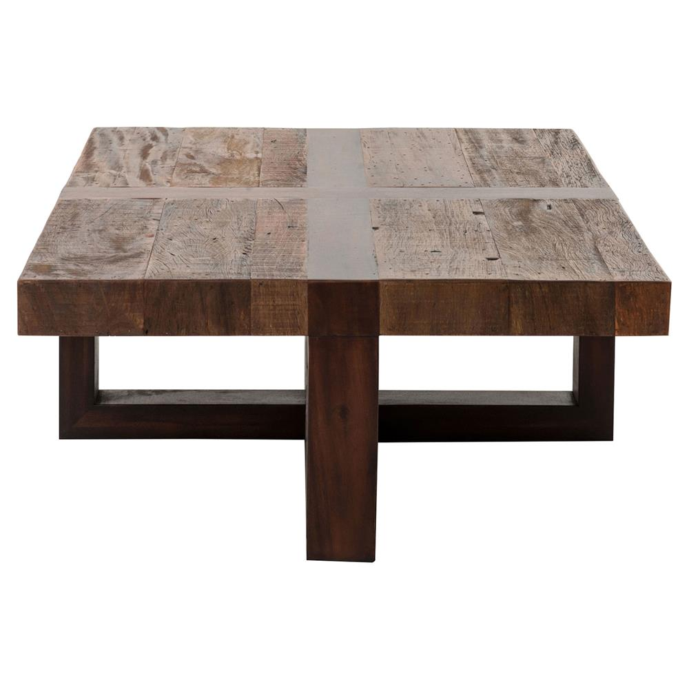 Grange Rustic Lodge Natural Wood Cross Top Coffee Table