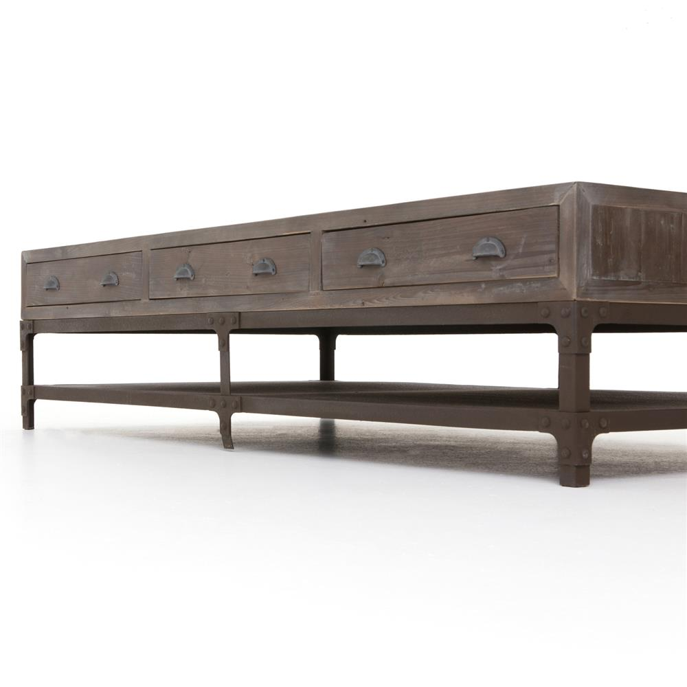 Hemlock rustic lodge reclaimed wood iron three drawer coffee table kathy kuo home Rustic iron coffee table