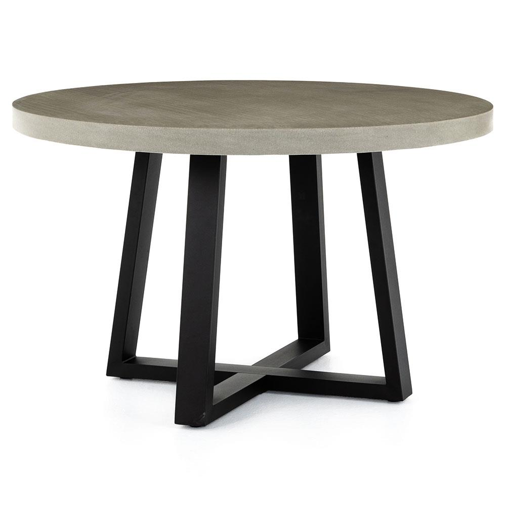 Maceo Modern Classic Round Composite Stone Metal Dining Table Inch - Concrete and metal dining table