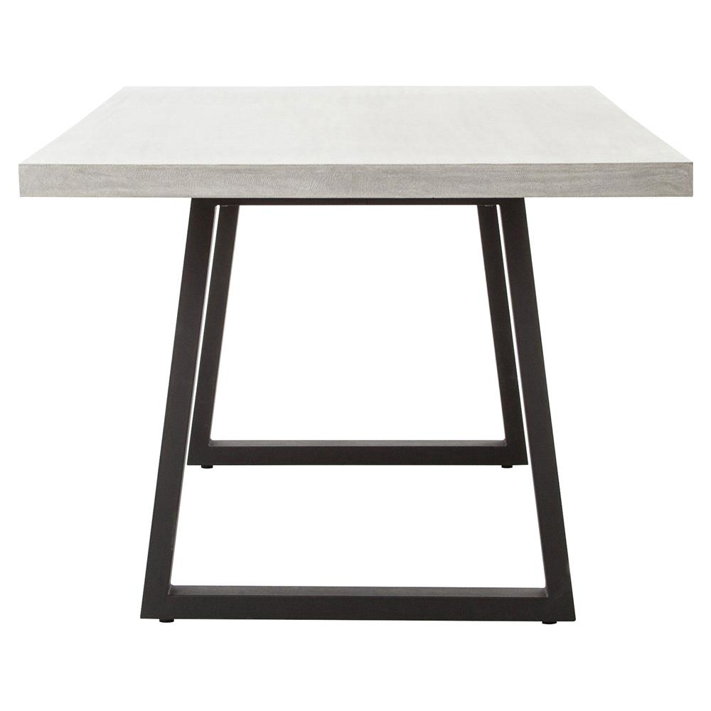 Maceo modern classic rectangular concrete metal dining for Contemporary rectangular dining table