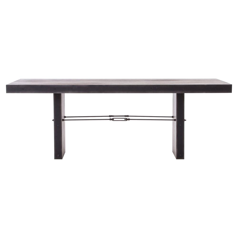 Reginald Modern Classic Distressed Wood Metal Rectangular Dining Table Kath