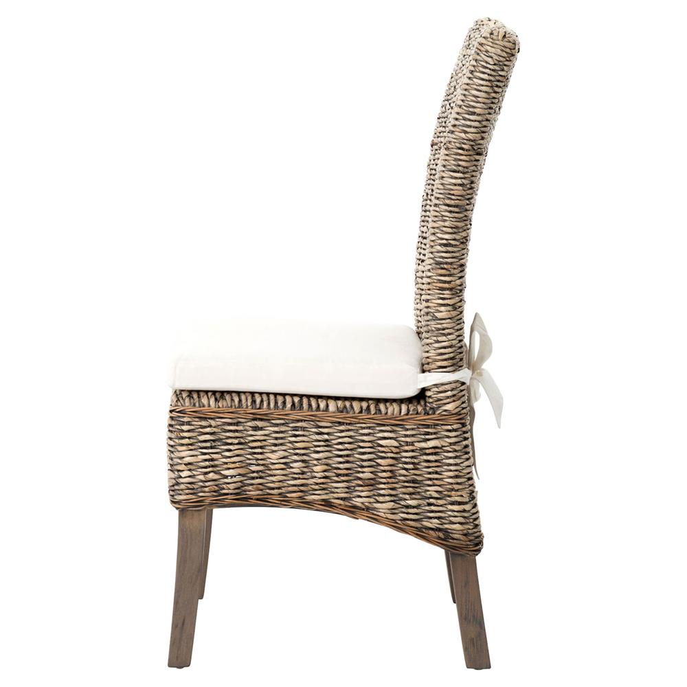 ... Sisson Modern Woven Banana Leaf Grey Wood Side Chairs   Pair | Kathy  Kuo Home ...