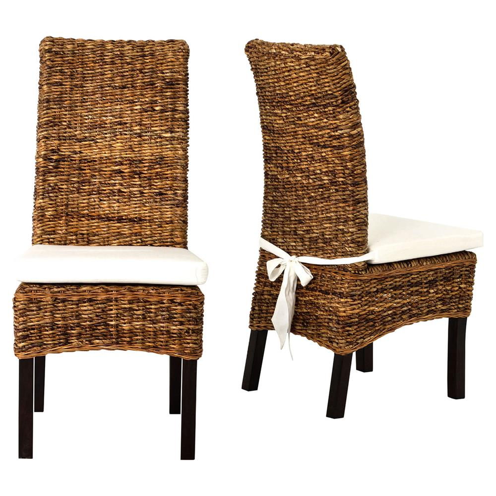 Sisson Modern Woven Banana Leaf Brown Wood Side Chairs