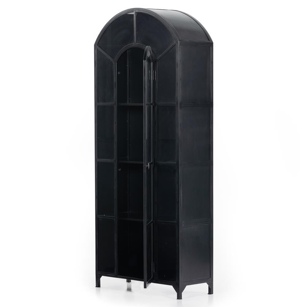 Stancil Industrial Loft Matte Black Iron Arched Cabinet | Kathy ...