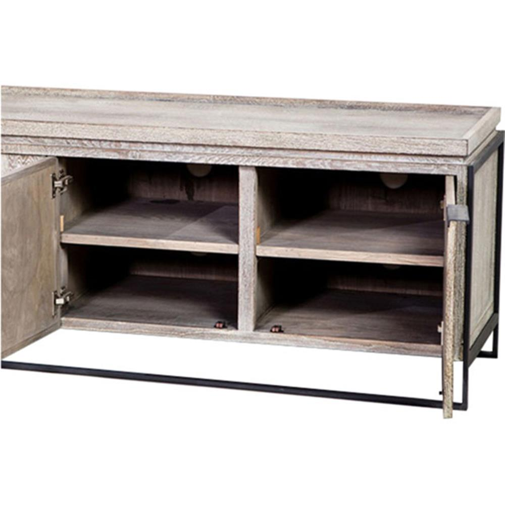 Larkin Rustic Lodge Limed Oak Iron Media Console Cabinet