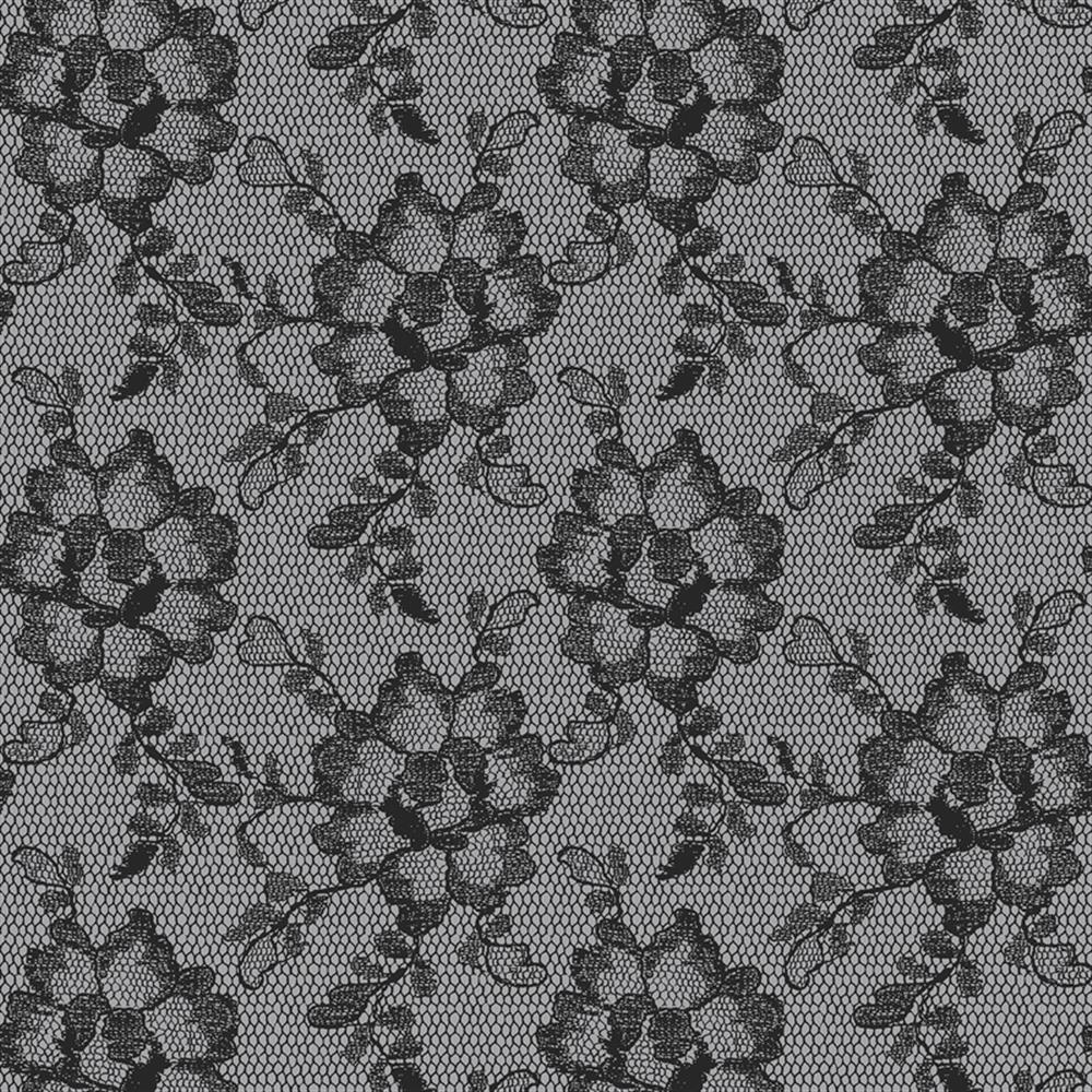Lace Textured Modern Classic Smoky Black Removable Wallpaper