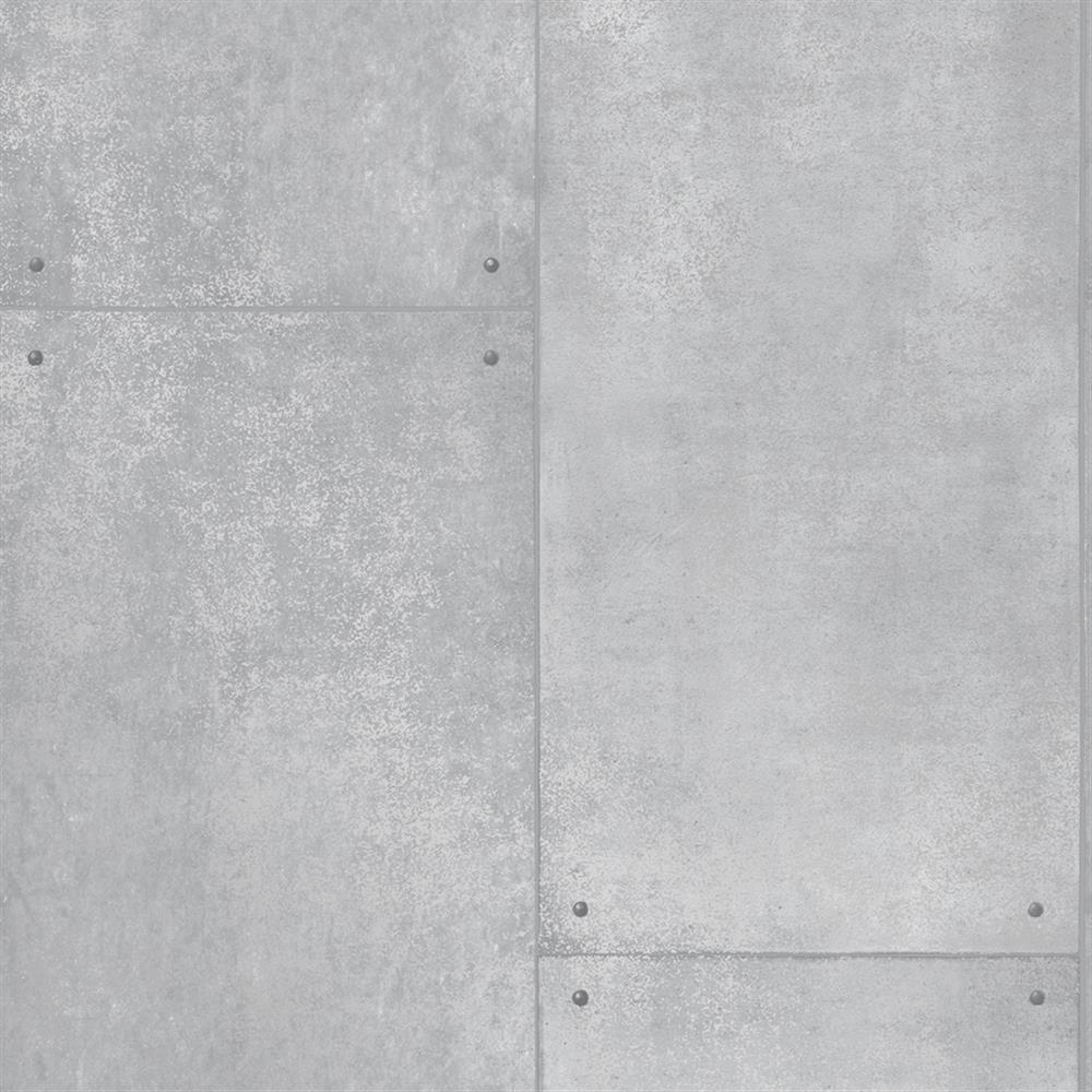 Metal industrial loft smooth surface silver removable for Metallic removable wallpaper