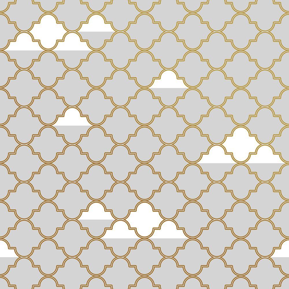 kids clouds lattice grey gold metallic removable wallpaper