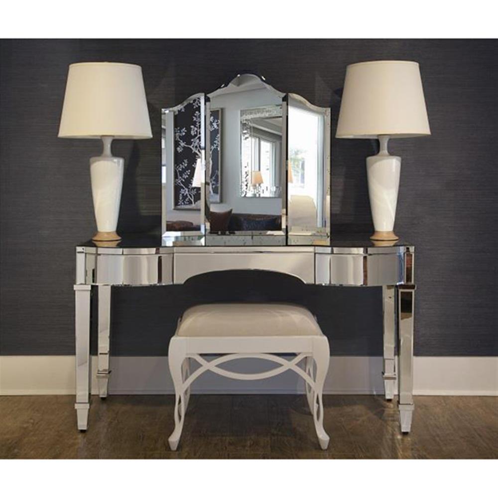 Tierney Hollywood Regency Curved Mirror Vanity Desk