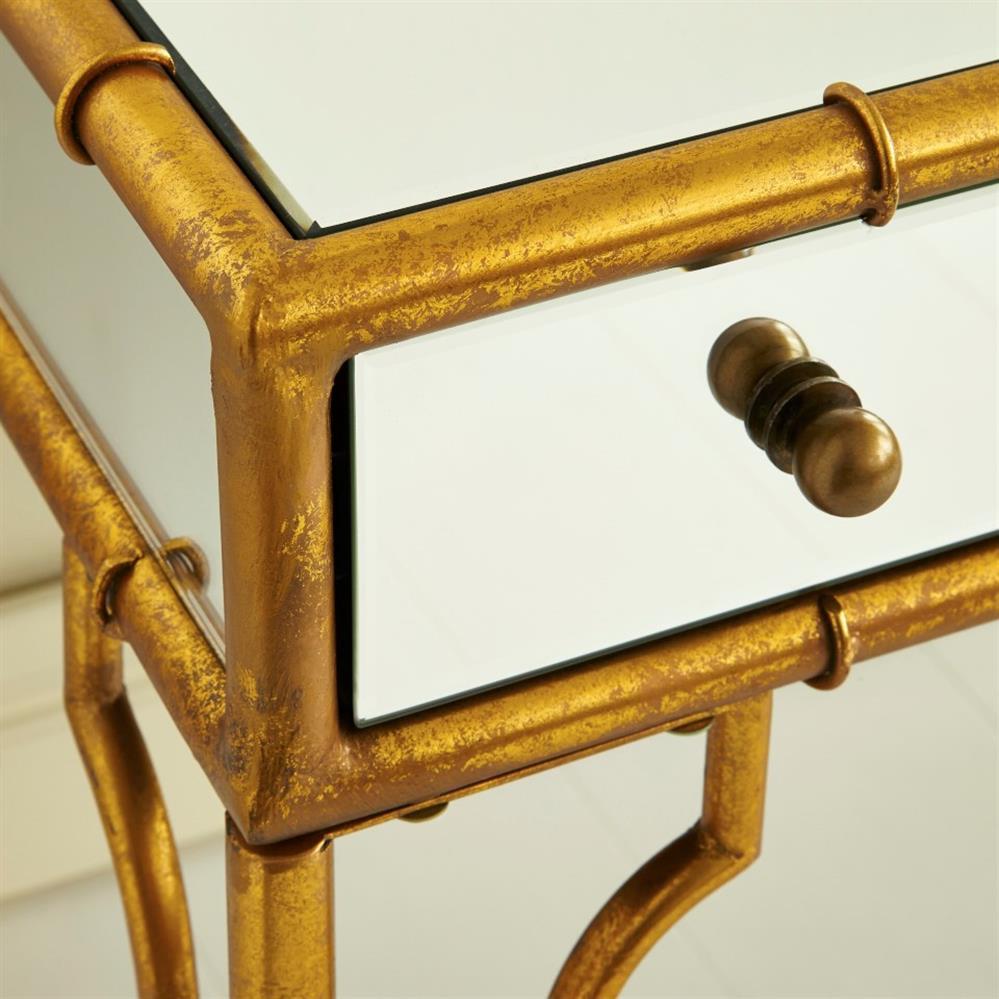 Relatively Brigitte Regency Mirrored Antique Gold Bamboo Console Desk | Kathy  QL55