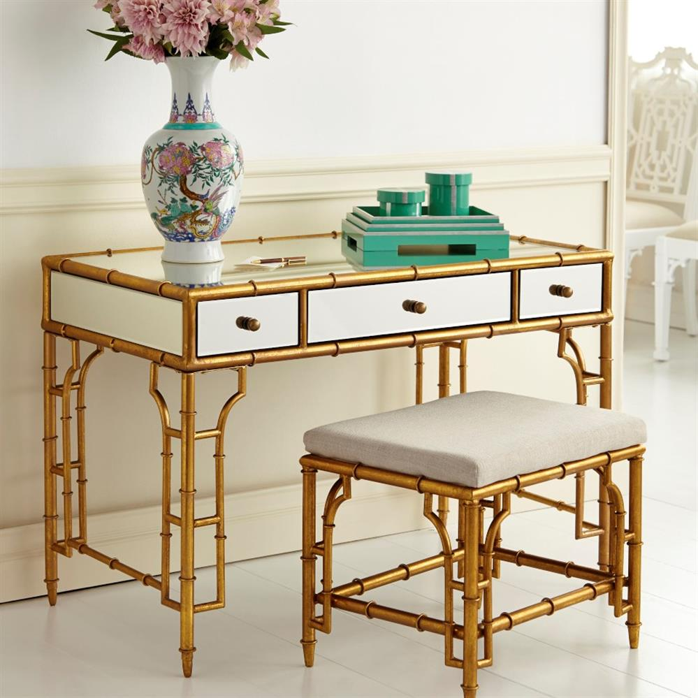 Brigitte Regency Mirrored Antique Gold Bamboo Console Desk