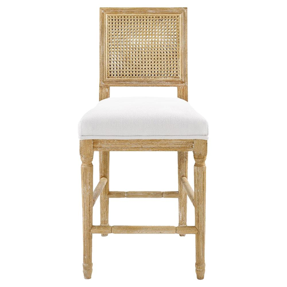 Maebell French Country Brown Woven Full Back Counter Stool