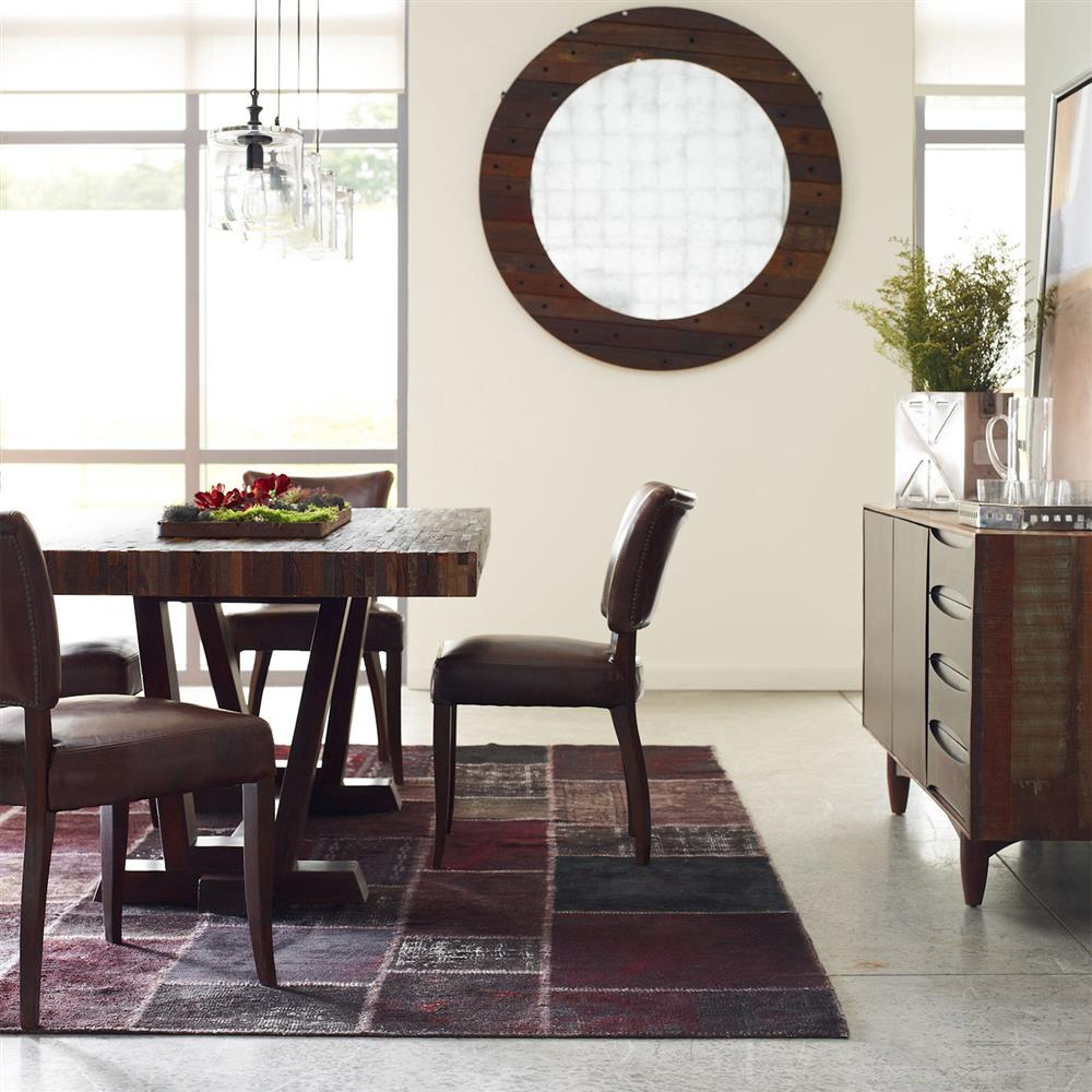 leanna rustic lodge layered salvaged wood dining table kathy kuo home
