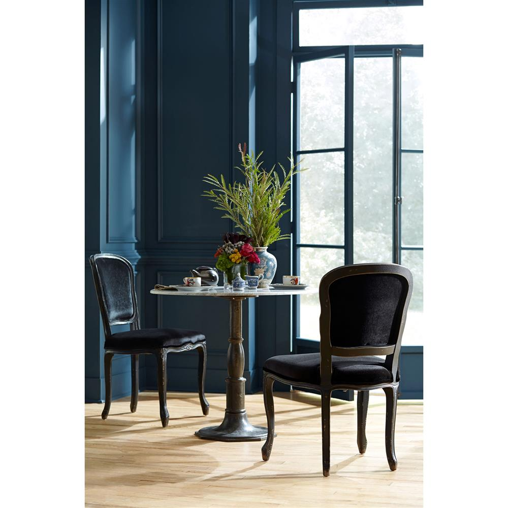 alondra classic cast iron marble round dining table kathy kuo home. Black Bedroom Furniture Sets. Home Design Ideas