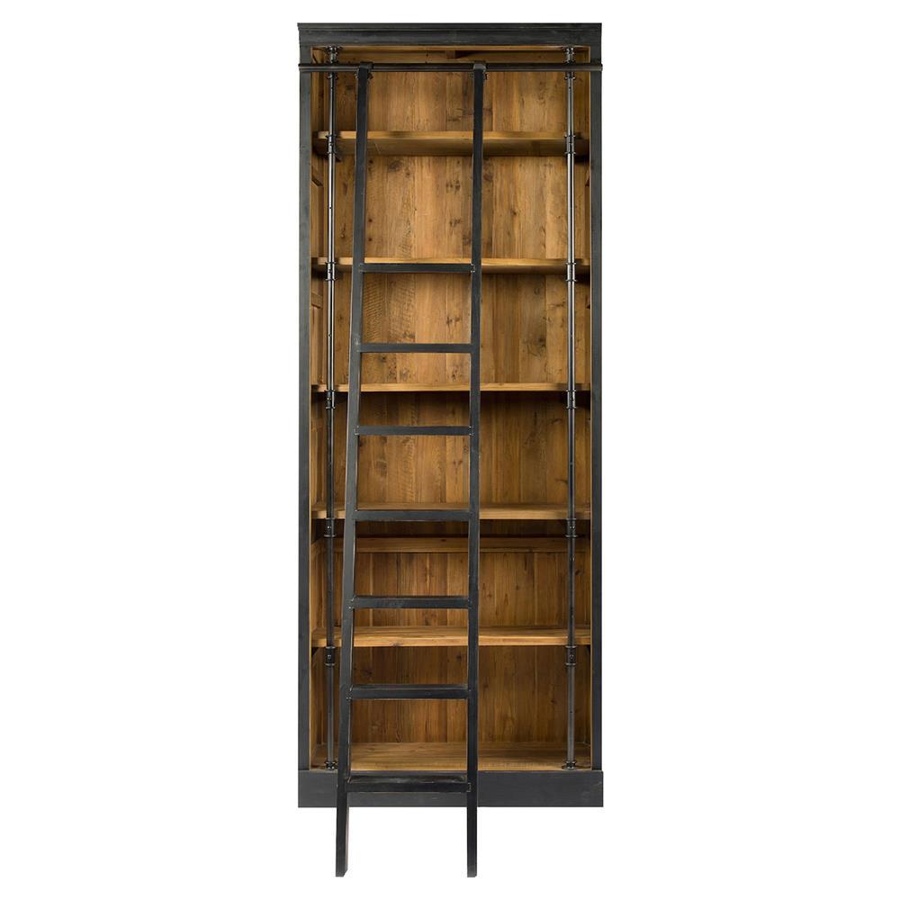 Timber Bookcase: Ashlyn Rustic Lodge Pine Wood Metal Ladder Bookcase