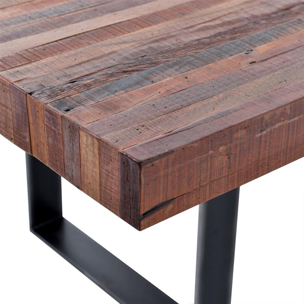 Lodge Natural Wood Black Steel Dining Table Kathy Kuo Home