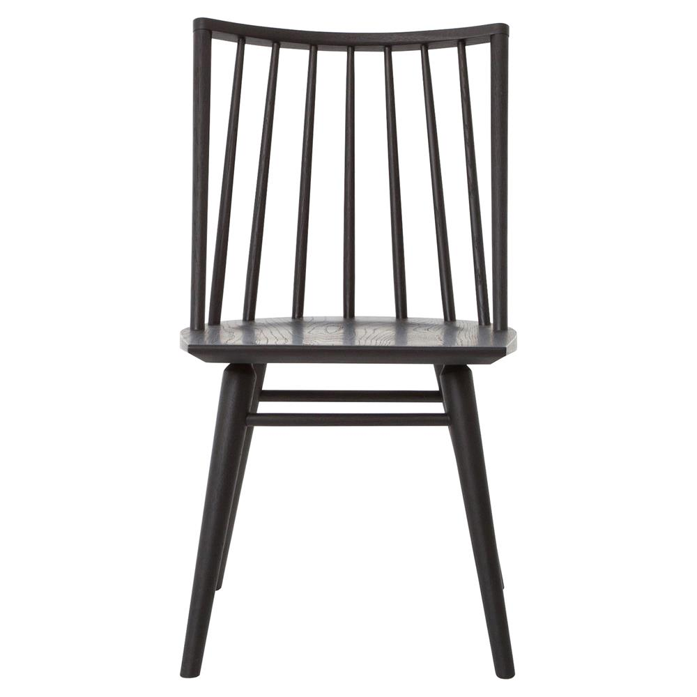 Lara modern classic black oak simple dining chair pair for Contemporary oak dining chairs