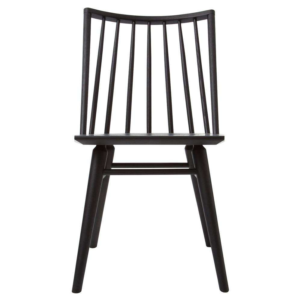 Lara modern classic black oak simple dining chair pair for Modern black dining chairs