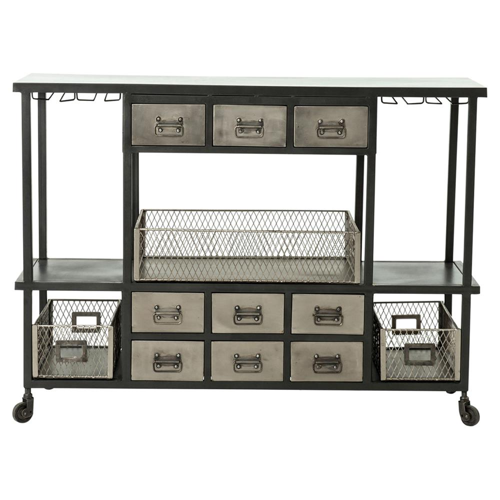 racks drawers rolling storage cabinet with homcom trolley cart w kitchen wood wheels trolleys wine gb on