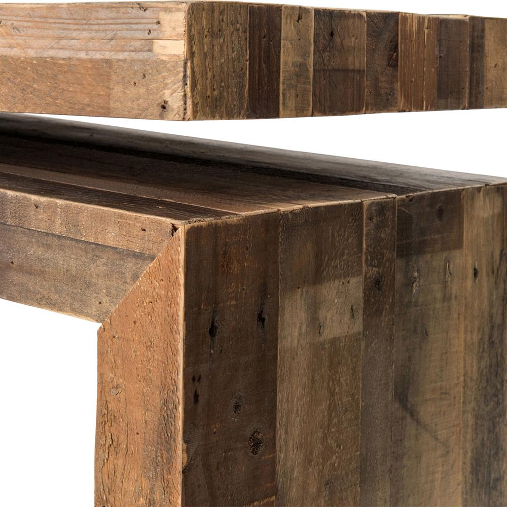 Ryland Rustic Lodge Weathered Wood Balance Console Table | Kathy Kuo Home