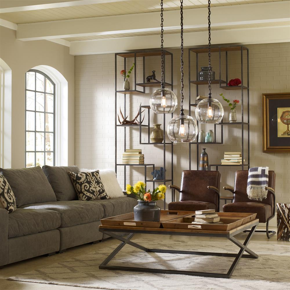 Industrial Chic Living Room: Arnaz Industrial Loft Iron Reclaimed Wood Staggered Shelf
