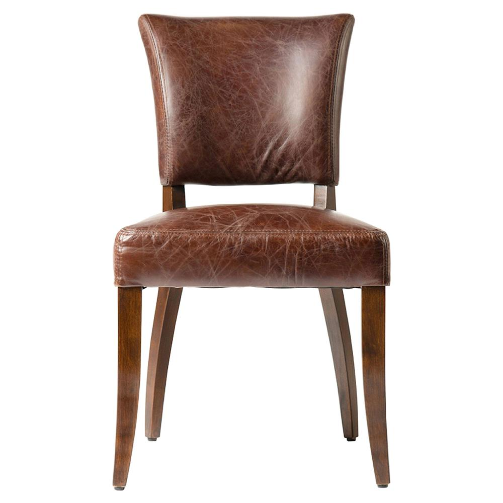 Melba modern classic brown leather dining chair pair for Brown leather dining room chairs