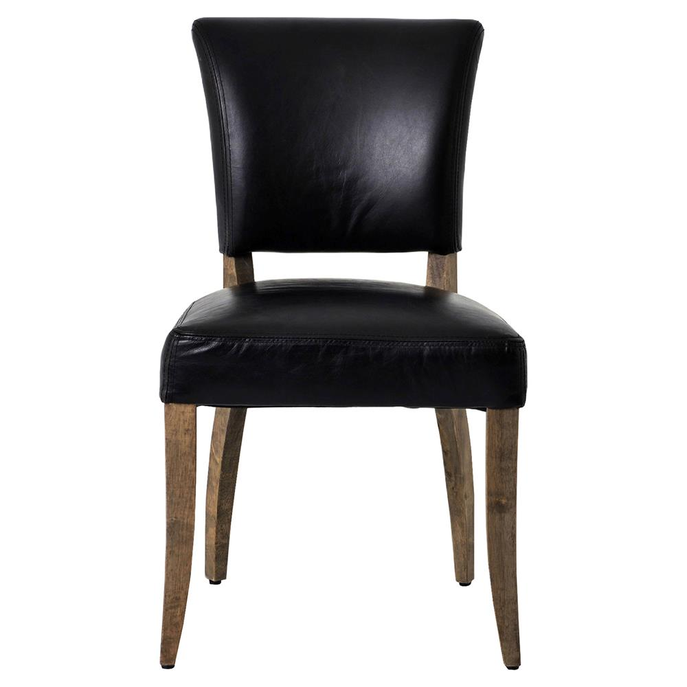 Melba modern classic black leather dining chair pair for Black leather dining chairs