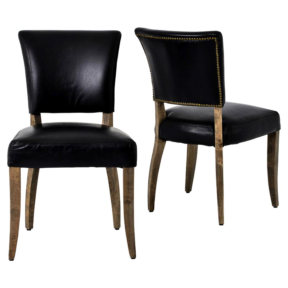 Melba modern classic black leather dining chair pair for Modern leather dining room chairs
