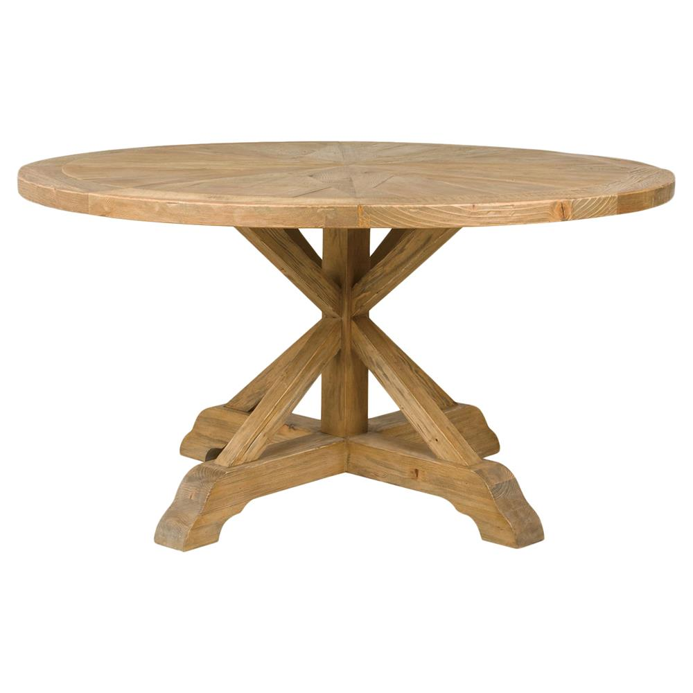 Blaise rustic french star wood round dining table kathy for Round wood dining table