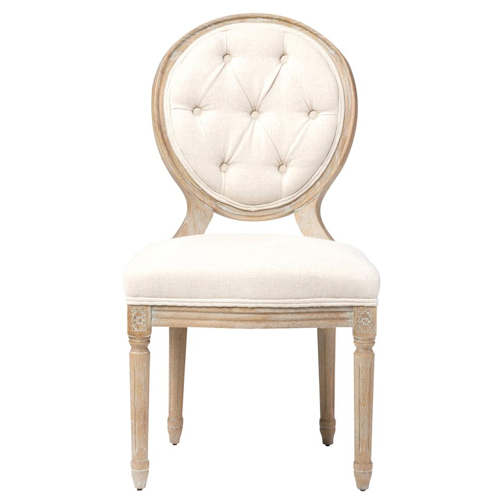 april french country white linen wood dining chair pair kathy kuo home. Black Bedroom Furniture Sets. Home Design Ideas