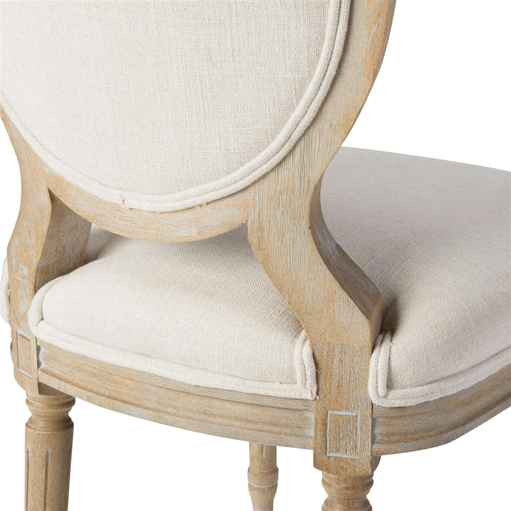 Wood dining chair - April French Country White Linen Wood Dining Chair Pair Kathy Kuo Home
